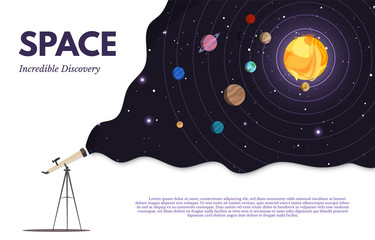 Space exploration flat banner vector template