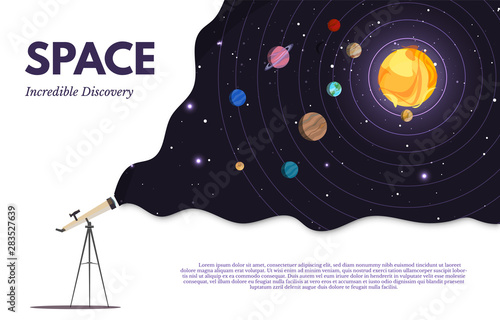Space exploration flat banner vector template Wallpaper Mural