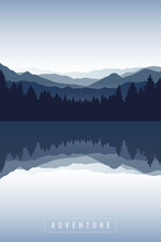 Blue Forest And Mountain Natur...