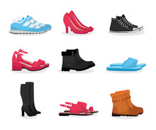 Various Shoes Flat Vector Illu...