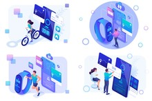 Set Isometric Mobile Apps To T...