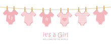 Its A Girl Welcome Greeting Card For Childbirth With Hanging Baby Bodysuits Vector Illustration EPS10