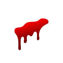 Blood Drip. Drop Blood Isloated White Background. Happy Halloween Decoration Design. Red Splatter Stain, Splash Spot, Horror Blot. Bleeding Bloodstain Scare Texture. Liquid Paint. Vector Illustraton