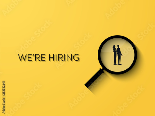 Fotografía  Hiring or recruitment website banner vector template with businessman and businesswoman in magnifying glass