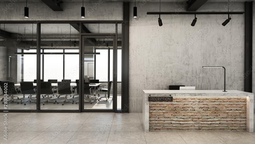 Fototapeta Office  reception design Modern & Loft,Concrete counter in front of the brick,Concrete wall,Concrete floor - 3D render