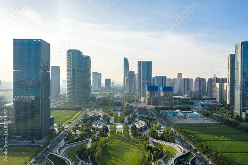 Spoed Foto op Canvas Chicago panoramic city skyline in hangzhou china