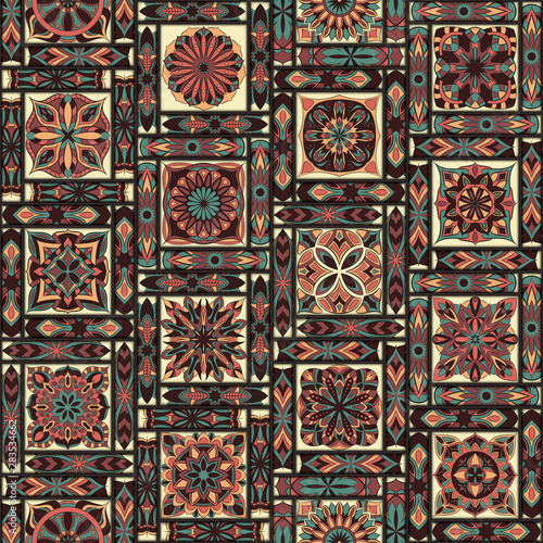 Photo  Ornate floral seamless texture, endless pattern with vintage mandala elements