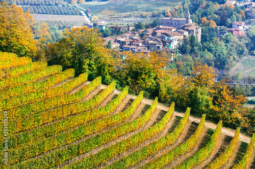 Picturesque countryside of Piedmont with yellow vineyards and small villages. Northen Italy