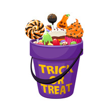 Bucket With Halloween Sweets And Candies.
