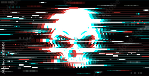 Fotomural  Illustration of skull in glitch art style