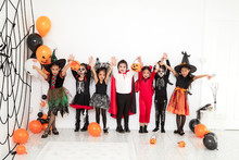 Halloween Party Little Children At Home