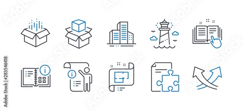 Set of Industrial icons, such as Technical documentation, Instruction info, Buildings, Open box, Packing boxes, Lighthouse, Manual doc, Architectural plan, Strategy, Intersection arrows Tableau sur Toile