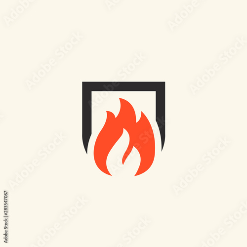 Fotografia Fireplace icon. Flame illustration