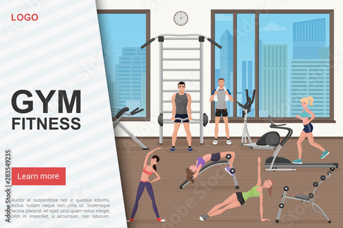 hot sale online 30add a8764 Gym workout landing page vector template. Fitness club ...