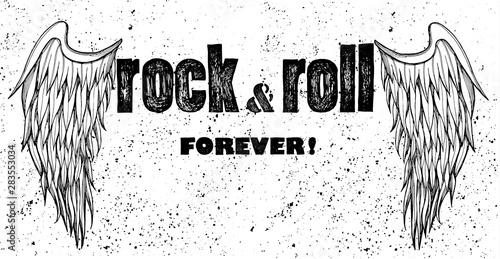 Cuadros en Lienzo Rock and roll forever, wings drawing
