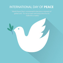 Peace Dove With Olive Branch, International Peace Day.