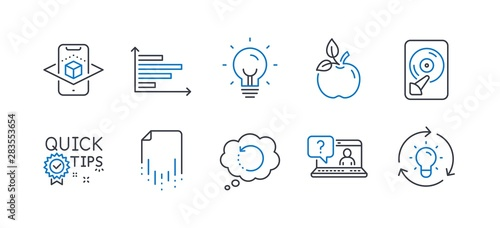 Set of Science icons, such as Hdd, Augmented reality, Energy, Recovery data, Faq, Eco food, Quick tips, Horizontal chart, Recovery file, Idea line icons. Memory disk, Phone simulation. Vector