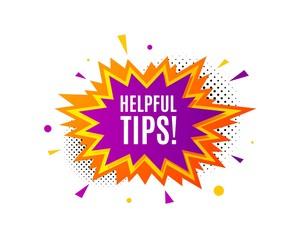 Helpful tips symbol. Banner badge, offer sticker. Education faq sign. Help assistance. Helpful tips banner. Sticker badge. Vector
