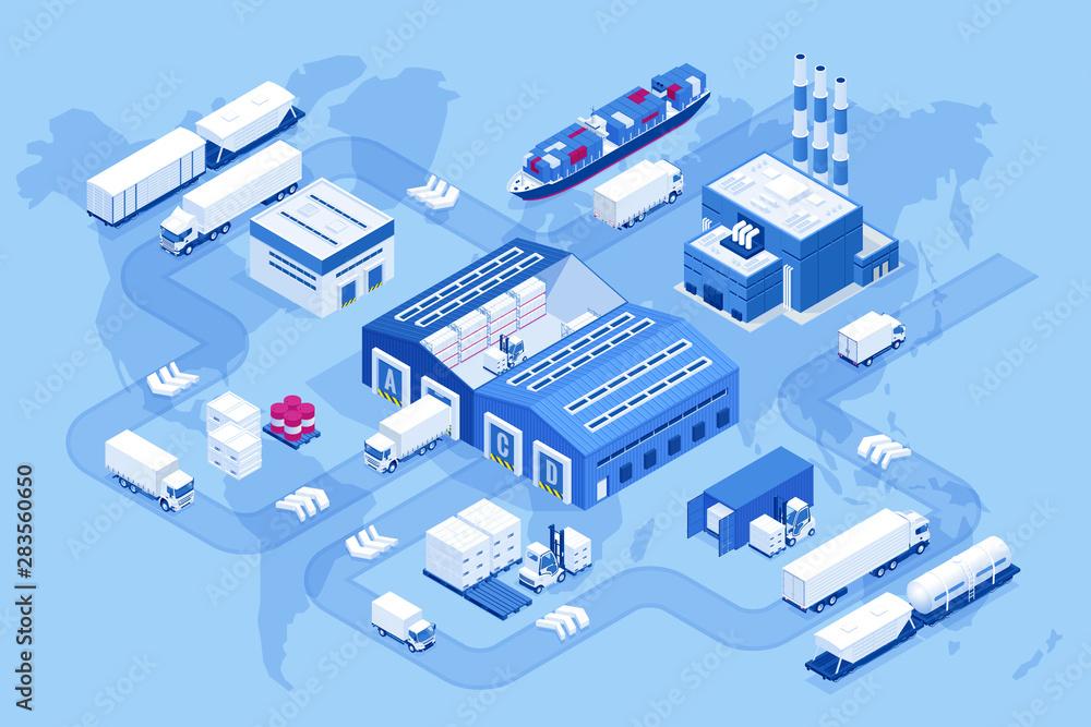 Fototapeta Isometric global logistics network. Air cargo, rail transportation, maritime shipping, warehouse, container ship, city skyline on the world map.