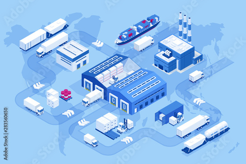 Pinturas sobre lienzo  Isometric global logistics network
