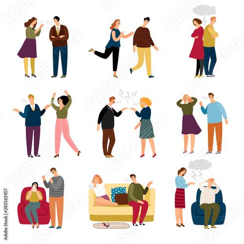 Couple swears and quarrel Wallpaper Mural