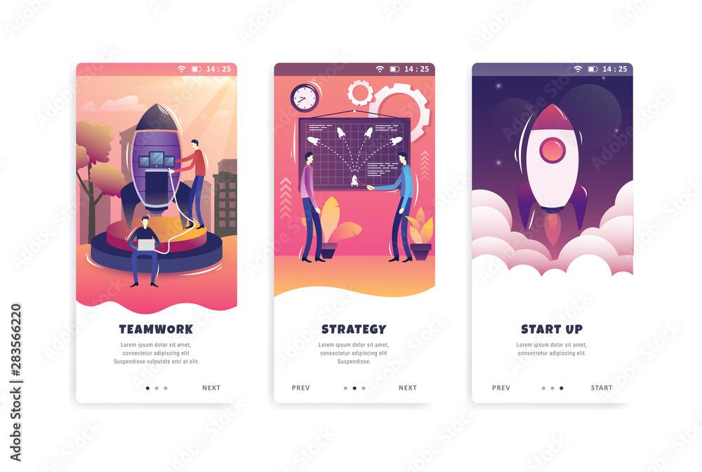 Fototapeta set onboarding screens user interface kit template