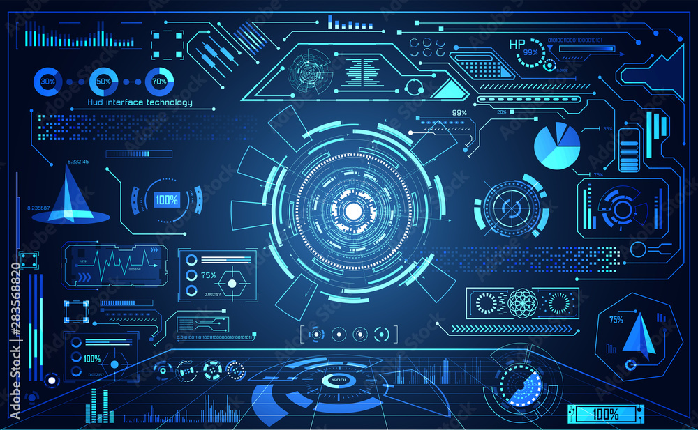 Fototapeta abstract technology ui futuristic concept hud interface hologram elements of digital data chart, communication, computing and circle percent vitality innovation on hi tech future design background