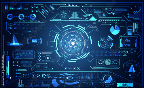 Fotomural abstract technology ui futuristic concept hud interface hologram elements of dig