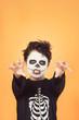 Leinwanddruck Bild Happy Halloween. funny child in a skeleton costume of halloween