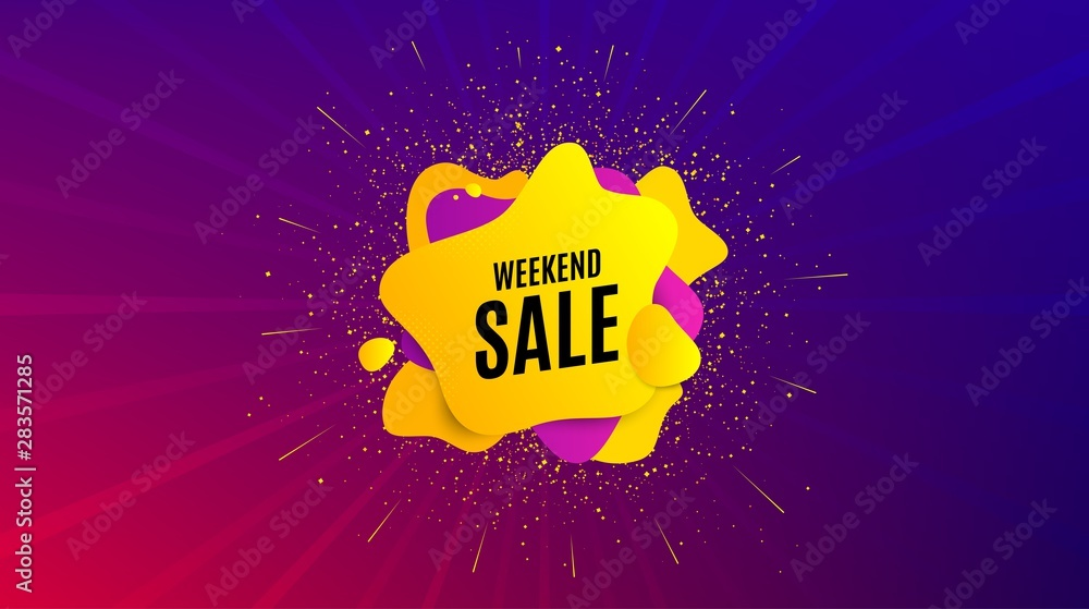 Fototapety, obrazy: Weekend Sale. Dynamic text shape. Special offer price sign. Advertising Discounts symbol. Geometric vector banner. Weekend sale text. Gradient shape badge. Colorful background. Vector