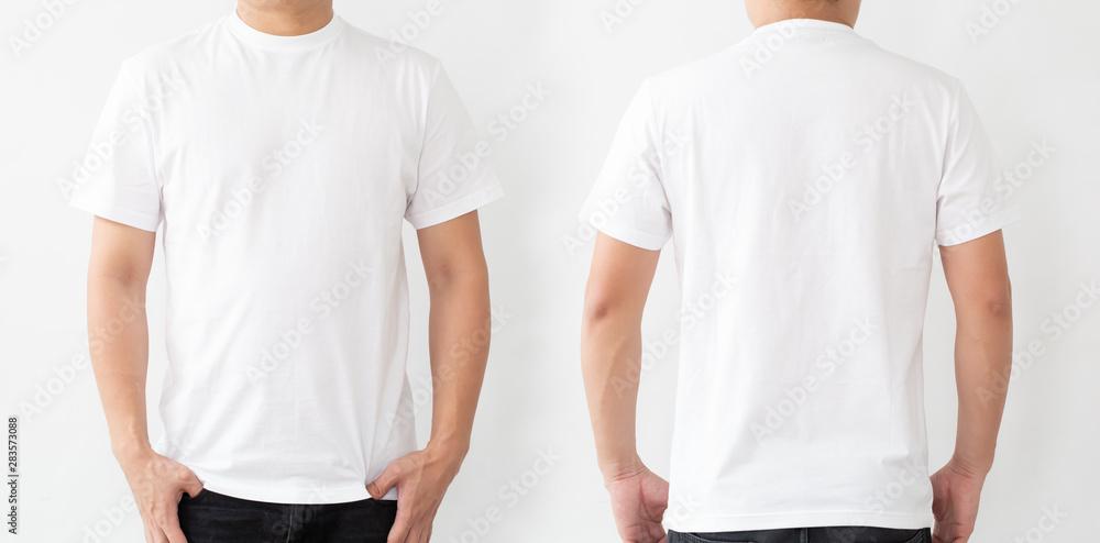Fototapeta White T-Shirt front and back, Mockup template for design print