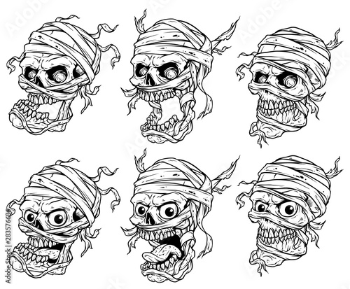 Fotografering Graphic detailed realistic black and white scary egyptian mummy skulls with eyes, teeth and bandage