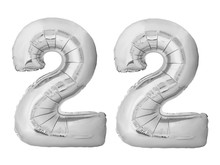 Number 22 Twenty Two Made Of Silver Inflatable Balloons Isolated On White Background. Silver Chrome Helium Balloons Forming 22 Twenty Two Number