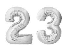 Number 23 Twenty Three Made Of Silver Inflatable Balloons Isolated On White Background. Silver Chrome Helium Balloons Forming 23 Twenty Three Number