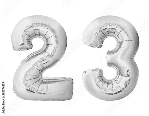 Fotografia  Number 23 twenty three made of silver inflatable balloons isolated on white background