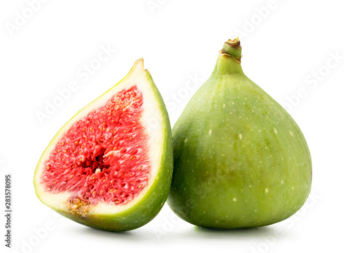 Stampa su Tela Ripe figs and red half on a white background. Isolated.