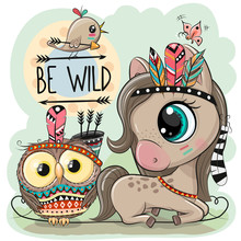Cartoon Tribal Horse And Owl With Feathers