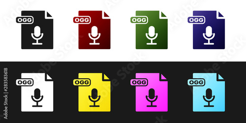 Set OGG file document  Download ogg button icon isolated on