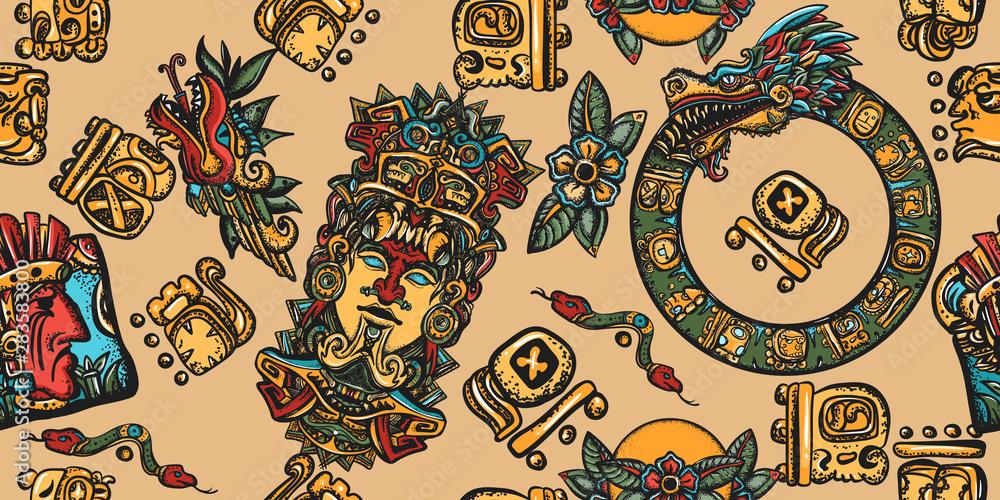 Fototapeta Mayan pattern. Ancient mexican civilization. Aztec, inca background. Golden glyphs, Kukulkan, totem, dragon, indian. Old school tattoo