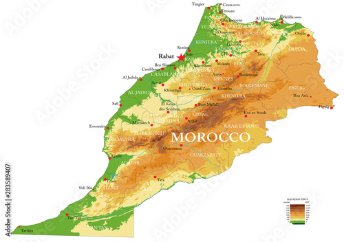 Photo  Morocco physical map
