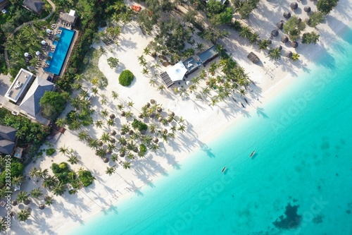 Foto auf Leinwand Sansibar The beautiful tropical Island of Zanzibar aerial view. sea in Zanzibar beach, Tanzania.