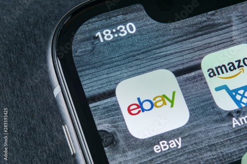 Sankt Petersburg Russia April 12 2018 Ebay Application Icon On Apple Iphone X Screen Close Up Ebay App Icon Ebay Com Is Largest Online Auction And Shopping Websites Buy This Stock Photo And Explore