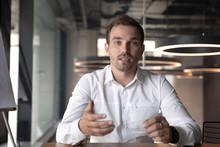 Businessman Making Video Call, Looking At Camera And Talking