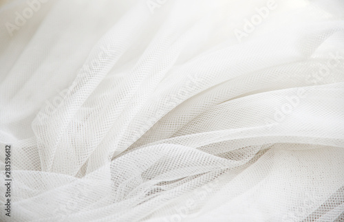 Obraz na plátně  Wedding White Silk transparent fabric