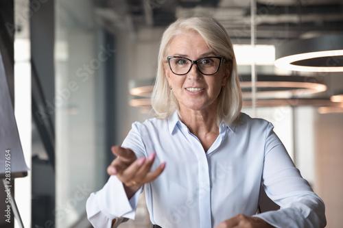 Pinturas sobre lienzo  Mature businesswoman looking at camera and talking, making video call