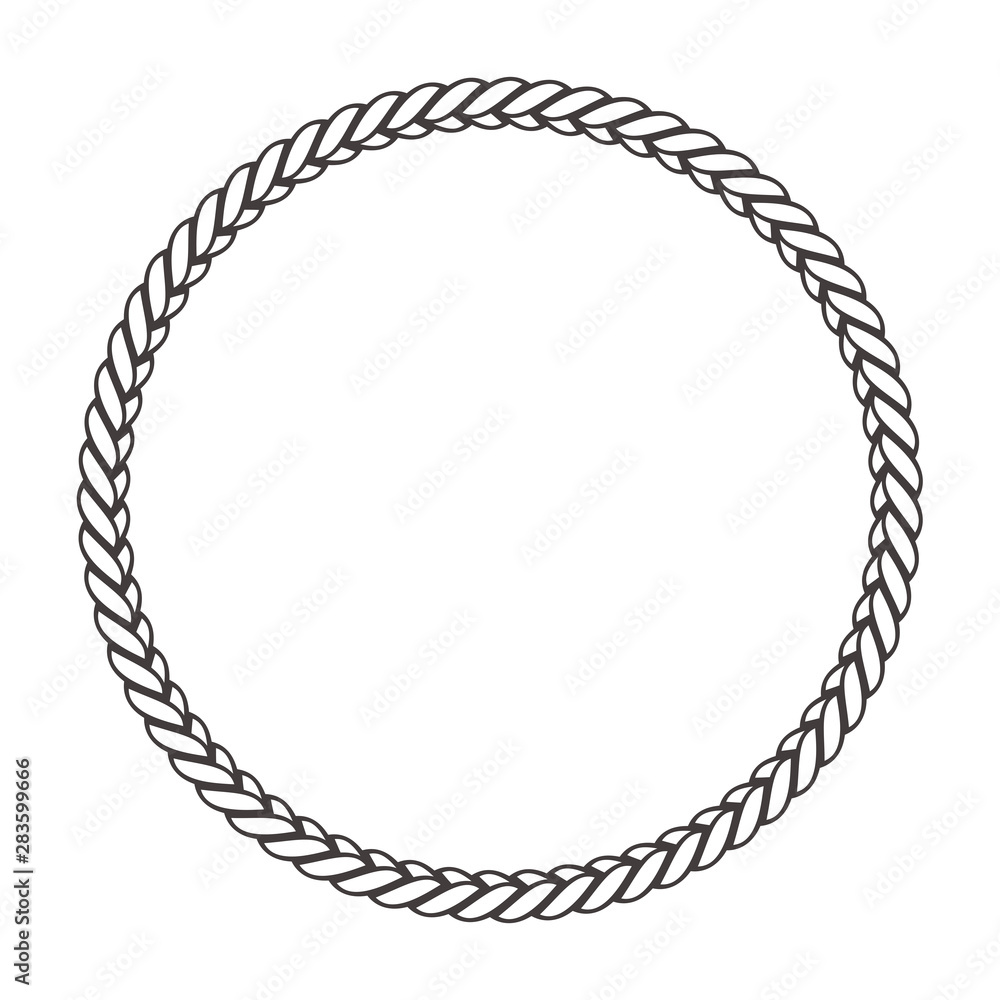 Fototapety, obrazy: Round rope frame. Circle ropes, rounded border and decorative marine cable frame circles. Rounds cordage knot stamp or nautical twisted knots logo isolated vector icon