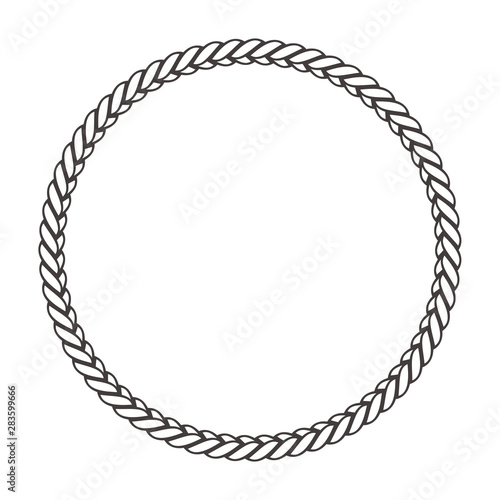 Obraz Round rope frame. Circle ropes, rounded border and decorative marine cable frame circles. Rounds cordage knot stamp or nautical twisted knots logo isolated vector icon - fototapety do salonu
