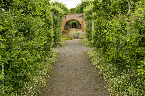 path with archway Hampton Court Castle gardens Hope under Dinmore Herefordshire Canvas Print