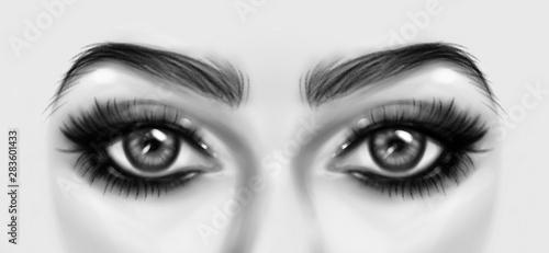Occhi in primo piano, viso simmetrico, disegno digitale in bianco e nero Canvas Print