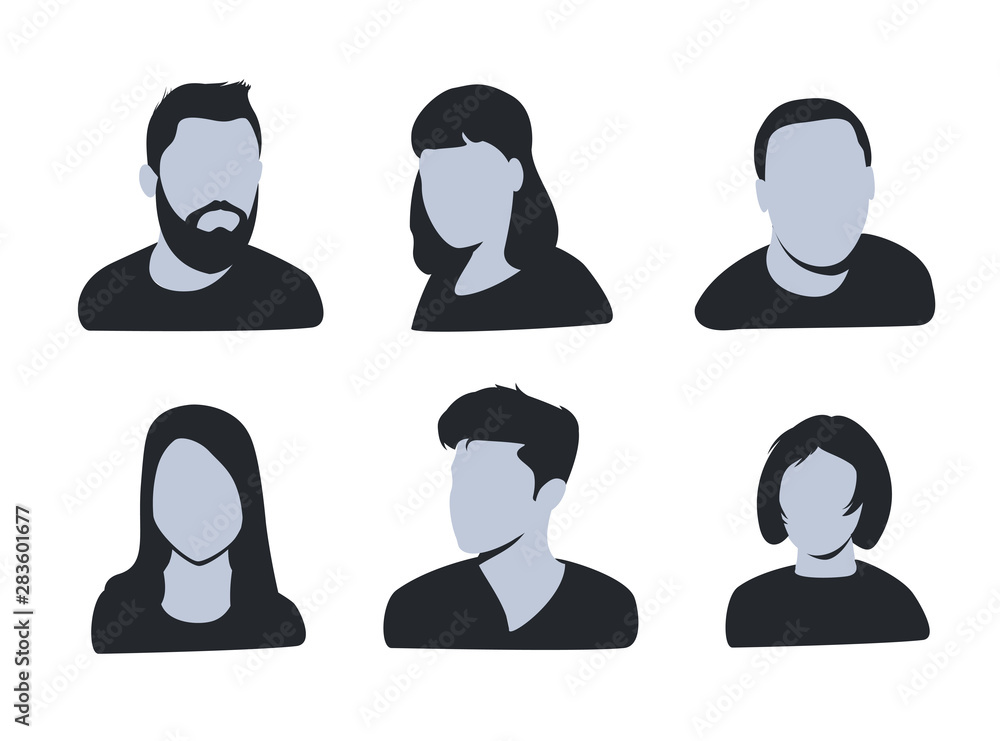 Fototapeta vector avatar, profile icon, head silhouette. Group of working people diversity, diverse business men and women